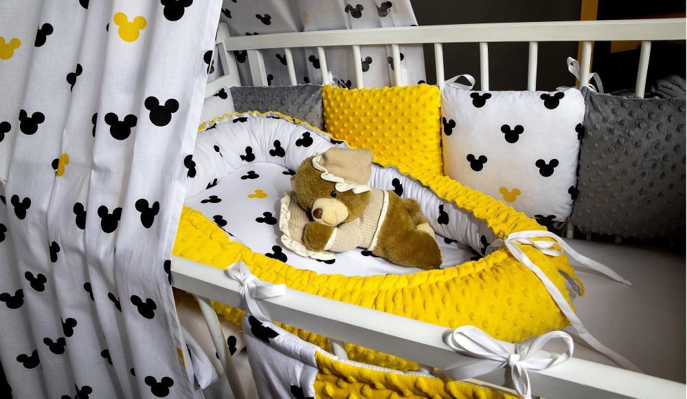 Souprava do postýlky Mickey minky žluté